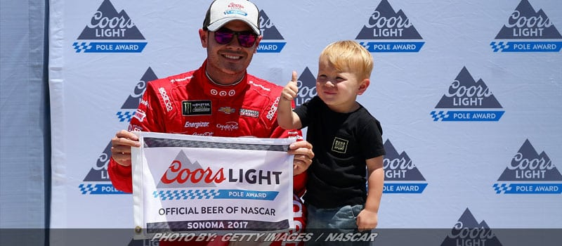Larson Knocks Ganassi Teammate Off Sonoma NASCAR Cup Pole