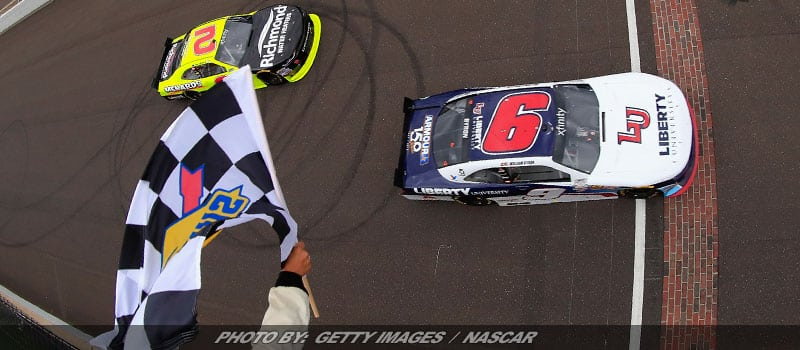 NASCAR XFINITY Rookie Byron Holds Off Menard In Brickyard Debut