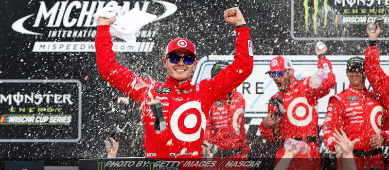 Daredevil Restart Gives Larson Third Consecutive Michigan Cup Series Win